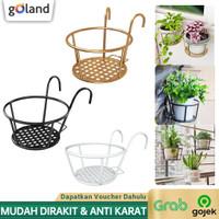 Goland Iron frame Pot Gantung Besi Balkon Pot Rak Bunga Besi