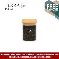Grinn Living Terra Glass Jar 450ml Toples Kaca tutup Kayu Bambu