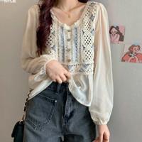 Atasan Blouse Loose Fit Crochet Knit Floral Lacey Korean Style Boho CS