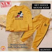 LM 21438 Baju Setelan Pakaian Olahraga Anak Perempuan MOUSE KID Bordir - Kunyit, S