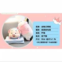 Balmut / Bantal Selimut Boneka Piggy / Unicorn Pakai Baju Bahan Plush