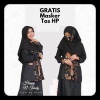 Baju Muslim Gamis Batik Wanita Premium Modern Two Piece Kombi Polos 2 - Hitam, M