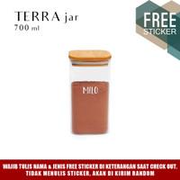 Grinn Living Terra Glass Jar 700ml Toples Kue tutup Kayu Bambu