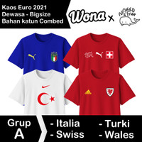 Kaos N&F Jersey Bola Eropa Grup A Untuk Dewasa-Bigsize Bahan Katun