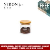 Grinn Living Neron Glass Jar 375 ml Toples kaca tutup Bambu Kayu