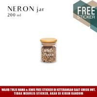 Grinn Living Neron Glass Jar 200 ml Toples kaca tutup Bambu Kayu