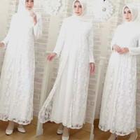 Baju Gamis Putih Terbaru Kebaya Brokat Putih Jumbo XXX 3L 4L 5L