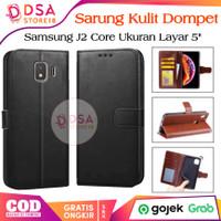 Sarung Kulit Leather Samsung J2 Core Flip Case Cover Wallet Dompet - Cokelat
