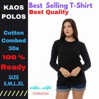 Baju Kaos Atasan Wanita Kualitas Top Tangan Panjang Cotton Combed 30s - S