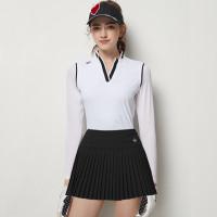 Skort dan kaos set golf baju golf wanita v neck BG - Hitam, rok saja