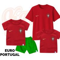 Setelan Baju Kaos Sepak Bola Euro Timnas Portugal Bayi Sampai Remaja