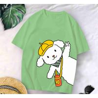 T-Shirt Green 02 XL / Baju Kaos Wanita Oversized XL Katun Combed 30s