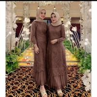 Gamis brukat pesta Geraldine Busana Muslim lebaran bridesmaid murah - Cokelat