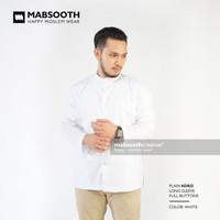New Model! Baju Koko Lengan Panjang Polos - Kemeja Pria Muslim / Jasko - Putih, S