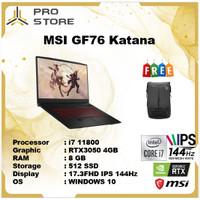MSI GF76 Katana i7 11800 8GB 512ssd RTX3050 4GB W10 17.3FHD IPS 144Hz