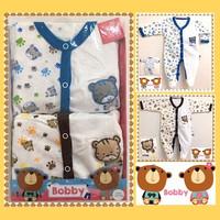 Romper Katun BOBBY 2 in1 Jumper Sleepsuit Pakaian Anak Bayi Laki-laki - Biru & Coklat 2