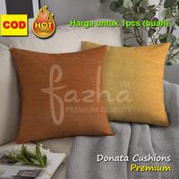 Cover Sarung Bantal Sofa Kursi Tamu Motif Polos Orange Kuning 40x40