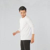 LEMONE Combed Spandek Atasan Baju Cowo Kaos Pria Polos Lengan Panjang - Putih, XS