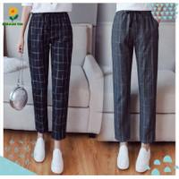 Celana Baggy Wanita Tartan Bagy Doty Pants Motif Kotak Fit L Panjang