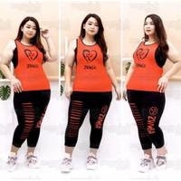 Atasan Baju Senam Singlet Jumbo Oversze Zumba Big Love Merah/Size XXL