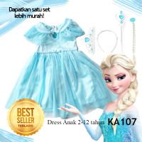 Gaun Dress Baju Elsa Frozen Anak 2thn -12 tahun Disney Princess KA107