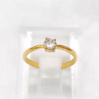 Cincin Ring Mata Satu Putih Emas Muda 1 gram