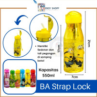 Botol Air Minum Karakter Strap Lock 550ml - Kuning Cars