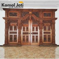 pintu gebyok kayu jati 3,5 meter, pintu jati ukir Jepara, pintu rumah