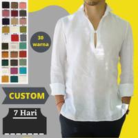 Baju Kemeja Linen Shirt Pria S M L XL XXL XXXL XXXXL 3XL 4XL 5XL 6XL
