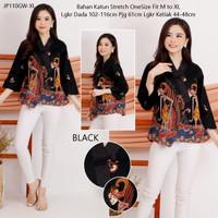 Baju Atasan Batik Wanita Kerja Katun Blouse Cewek Cotton Kimono JP110 - Black