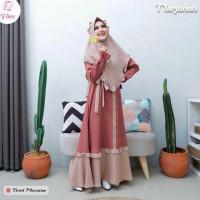 Baju Gamis Syari Wanita Set Khimar Terbaru Gamis Jumbo Muslim Terlaris - Cokelat, S