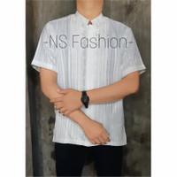 Baju Koko Pria Muslim Size M L XL Lengan Pendek Semi Sutra Putih Amran