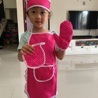 Celemek Anak Apron Topi Chef