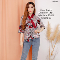 Atasan blouse batik cewek Baju blouse kerja wanita kantor model baru - Merah
