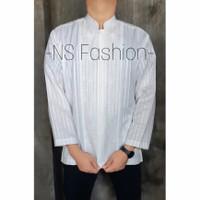Baju Koko Muslim Size M L XL Lengan Panjang Semi Sutra Putih Bariq - Putih, M