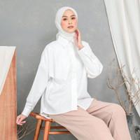 EVONNE Letty Shirt ALL SIZE XXL White Hide Button Basic Oversize Patte