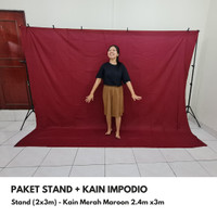 Background / backdrop polos merah maron 2,5 x 3 meter