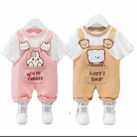 Setelan baju bayi kembar - setelah overall kaos bayi cewek cowok