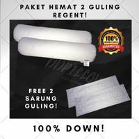 Paket 2 Guling Bulu Angsa Asli, Type Regent 100% Down(Soft) uk 37x92cm