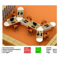 Meja Kerja Komputer Staff Admin Kantor Workstation 6 Orang Trigonal