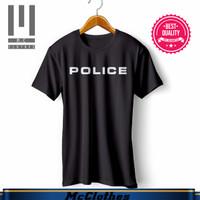 BAJU KAOS POLISI (POLICE) BAHAN ADEM NYAMAN KATUN - Hitam, S