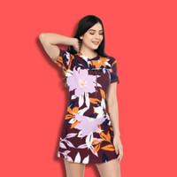Baju renang dewasa wanita model rok celana motif dahlia - M