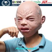 Topeng bayi anak kecil nangis lucu halloween prank fullhead latex mask