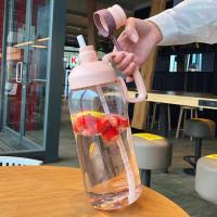 Botol Air Minum Sporty Big Capacity 1800ML Dengan Gagang Dan Sedotan - Pink