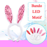 Bando Anak Kelinci Lampu bando LED aksesoris rambut kepala cewek - Motif LED