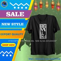 TShirt Kaos Islami Pria Muslim Cowok Distro Keren Premium Bismillah - Hitam, L