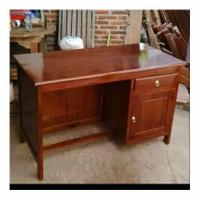 meja kantor 1/2 biro kayu jati minimalis