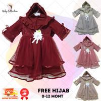 Gamis Anak Bayi Perempuan Set Hijab Buat Usia 0-12 Bulan Brukat Tulle - Dusty, 0-12 Bulan
