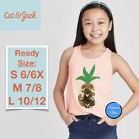 Cat & Jack Kaos Tank Top Anak Sequin Peach Pineapple Branded Original