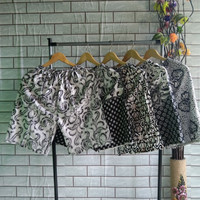 Celana Pendek Batik Pria Wanita Motif Klengan Pagi Sore